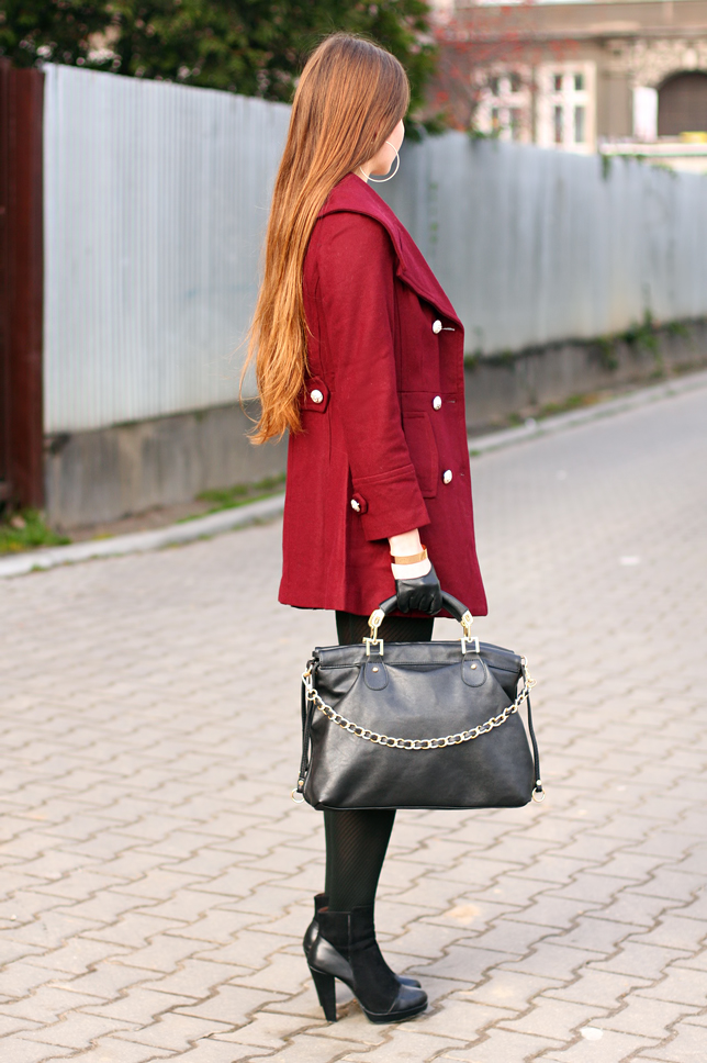 burgundy elegant coat romwe black tights