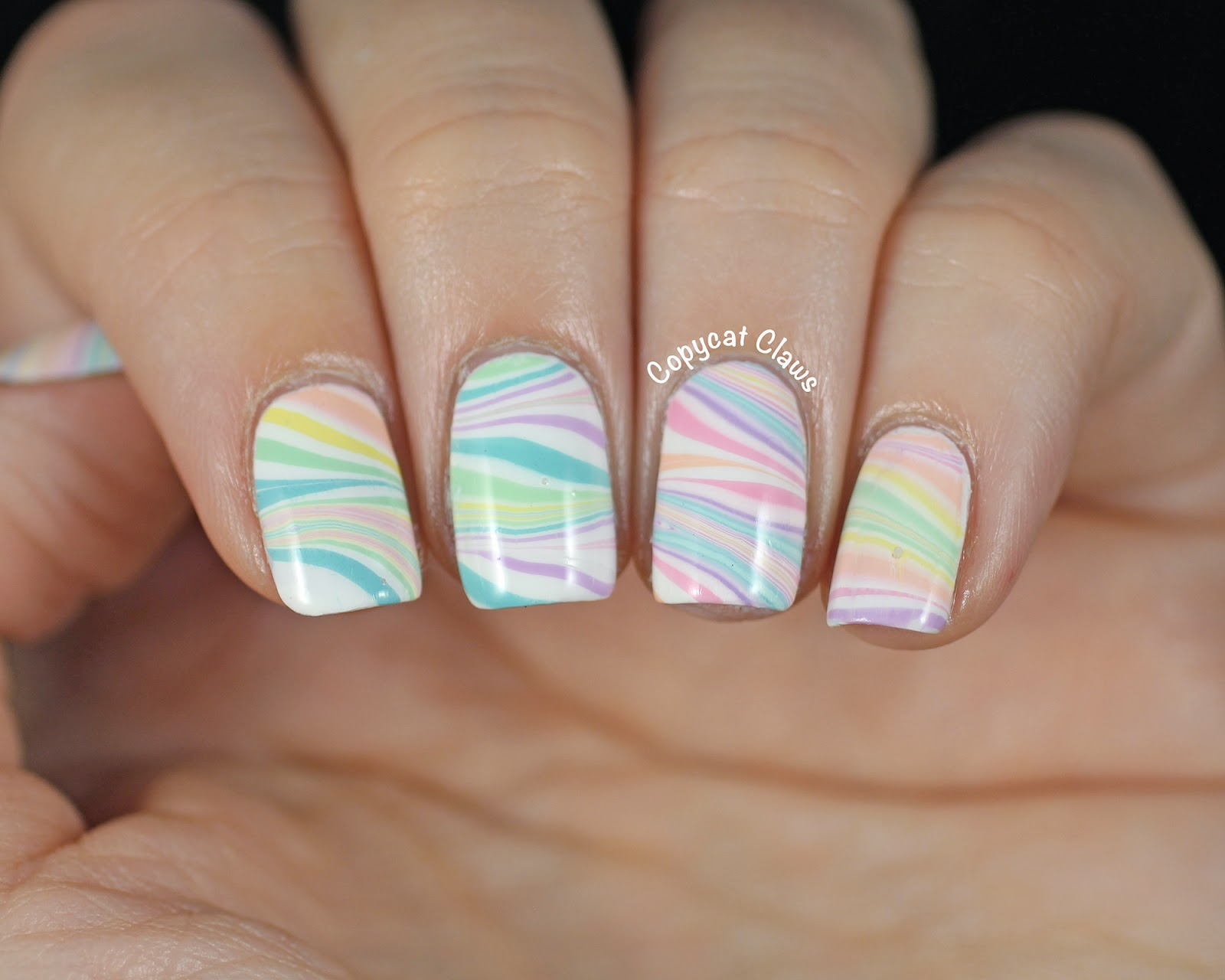 Copycat Claws Springtime Water Marble Nail Art
