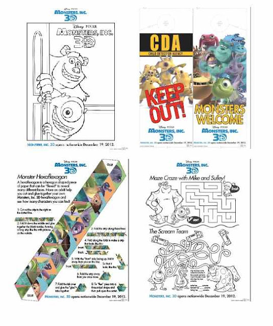 Monsters 3D activity sheets