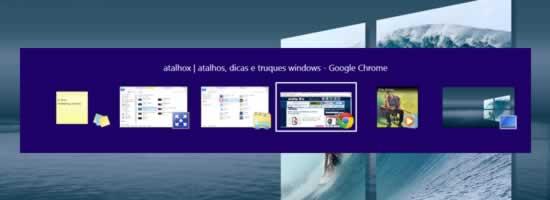 Atalho Windows Task Switcher para as tarefas em aberto