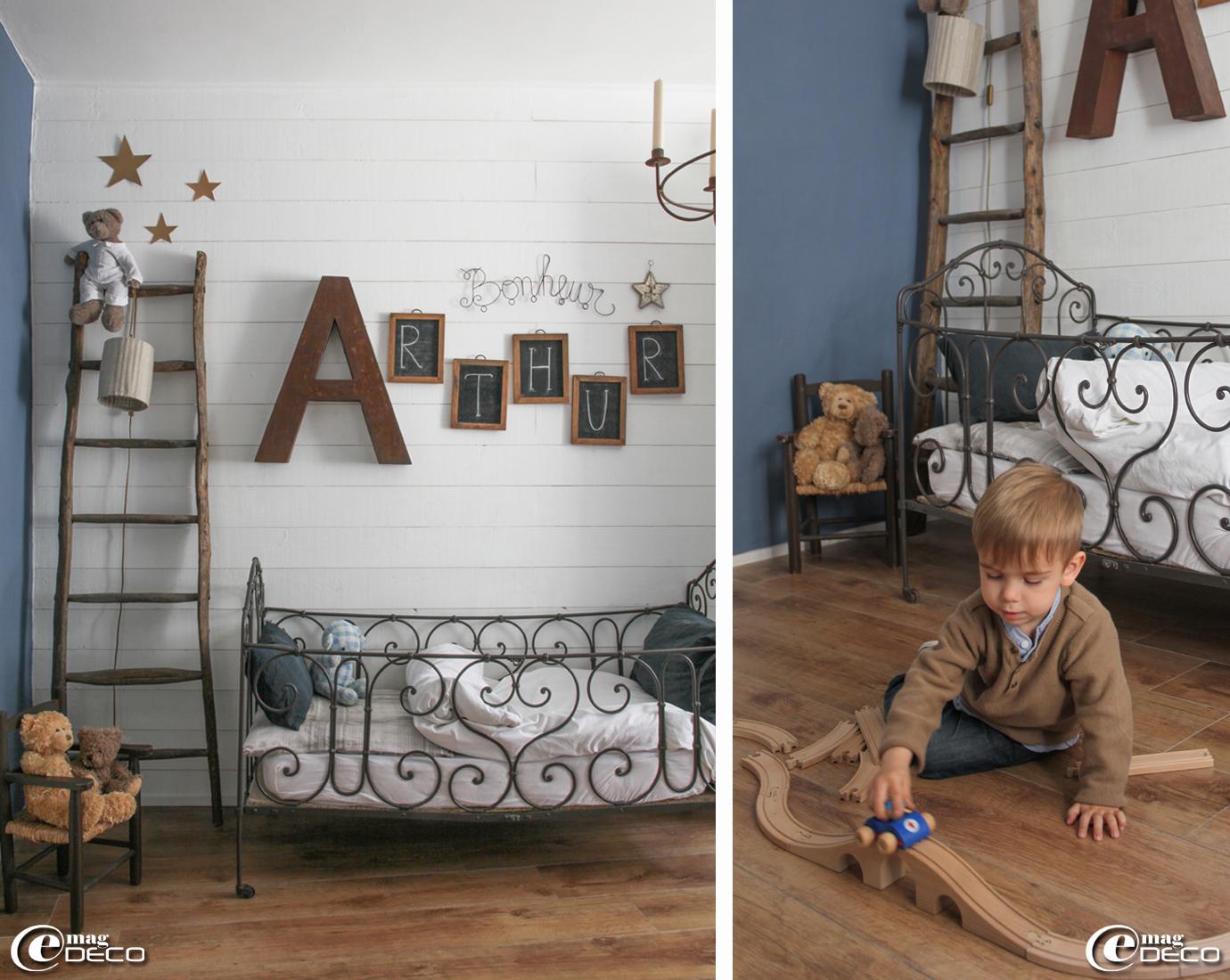 Chambre d'enfant de couleur Bleu Ouessant de la gamme de peintures ...