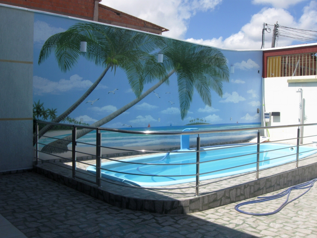 Edi arts pintura em telas paisagem em muro de piscina for Piscina 7 de agosto
