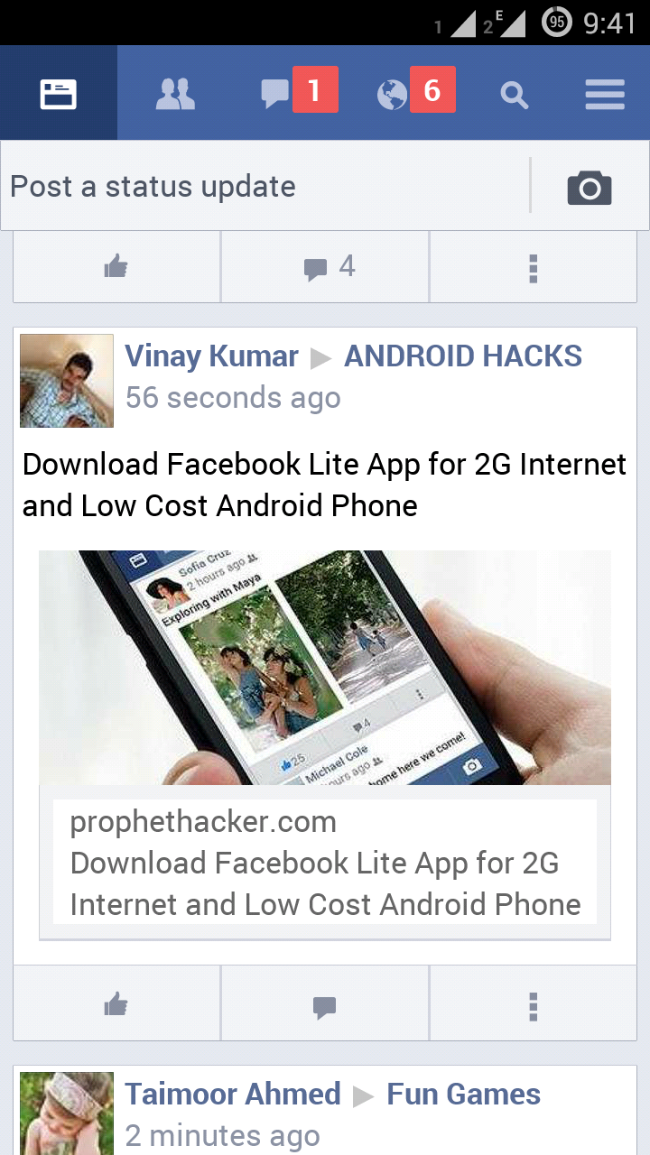 Phone Download Facebook On Android Phone facebook lite app for android to use faster with slow 2g news feed shown in app