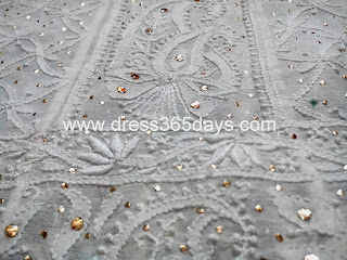 Closeup Chikankari Golden Badla Anarkali