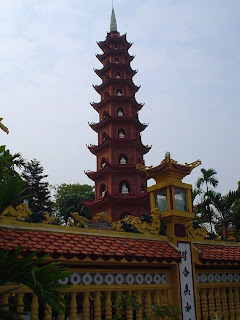 Pagoda next to Hanoi river (Vietnam)