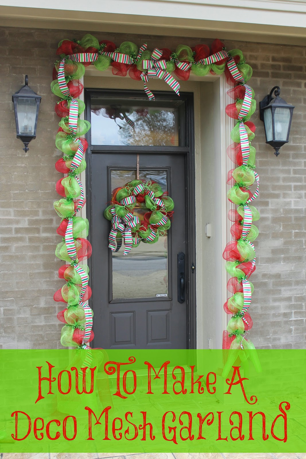 Make a deco mesh garland miss kopy kat for How to make christmas door wreaths