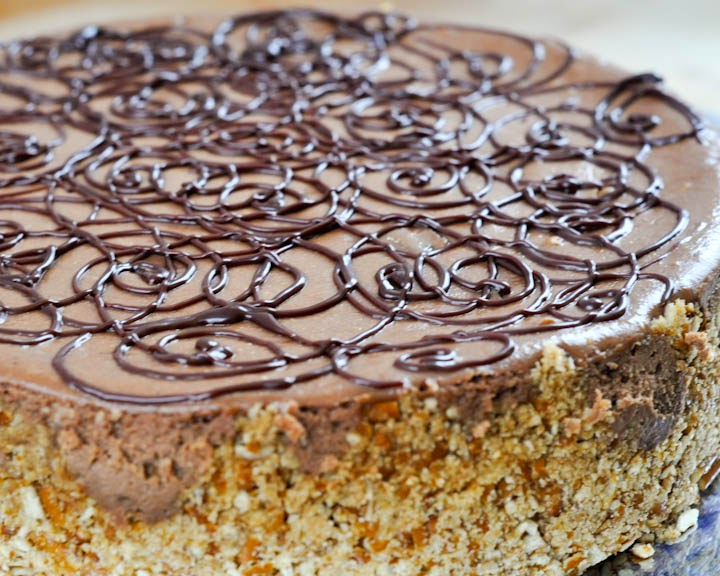 Guinness Chocolate Chunk Cheesecake with Pretzel Crust