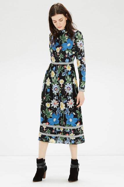 warehouse long sleeve floral dress, black long sleeve floral dress,