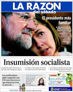 Portada del diario La Razón sobre los tuppers de Rajoy