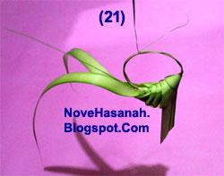cara membuat kerajinan tangan atau prakarya dari janur daun kelapa muda berupa burung cenderawasih 21