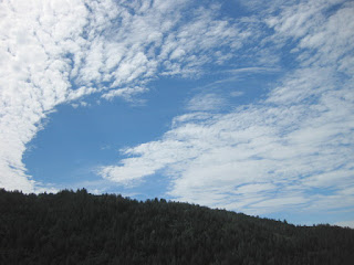 Swirl of clouds over forested hills, Highland Way, Santa Cruz Mountains, California