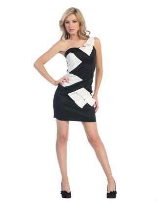 Black  White Dress on Dresses  Black And White Interlaced Single Shoulder Short Prom Dresses