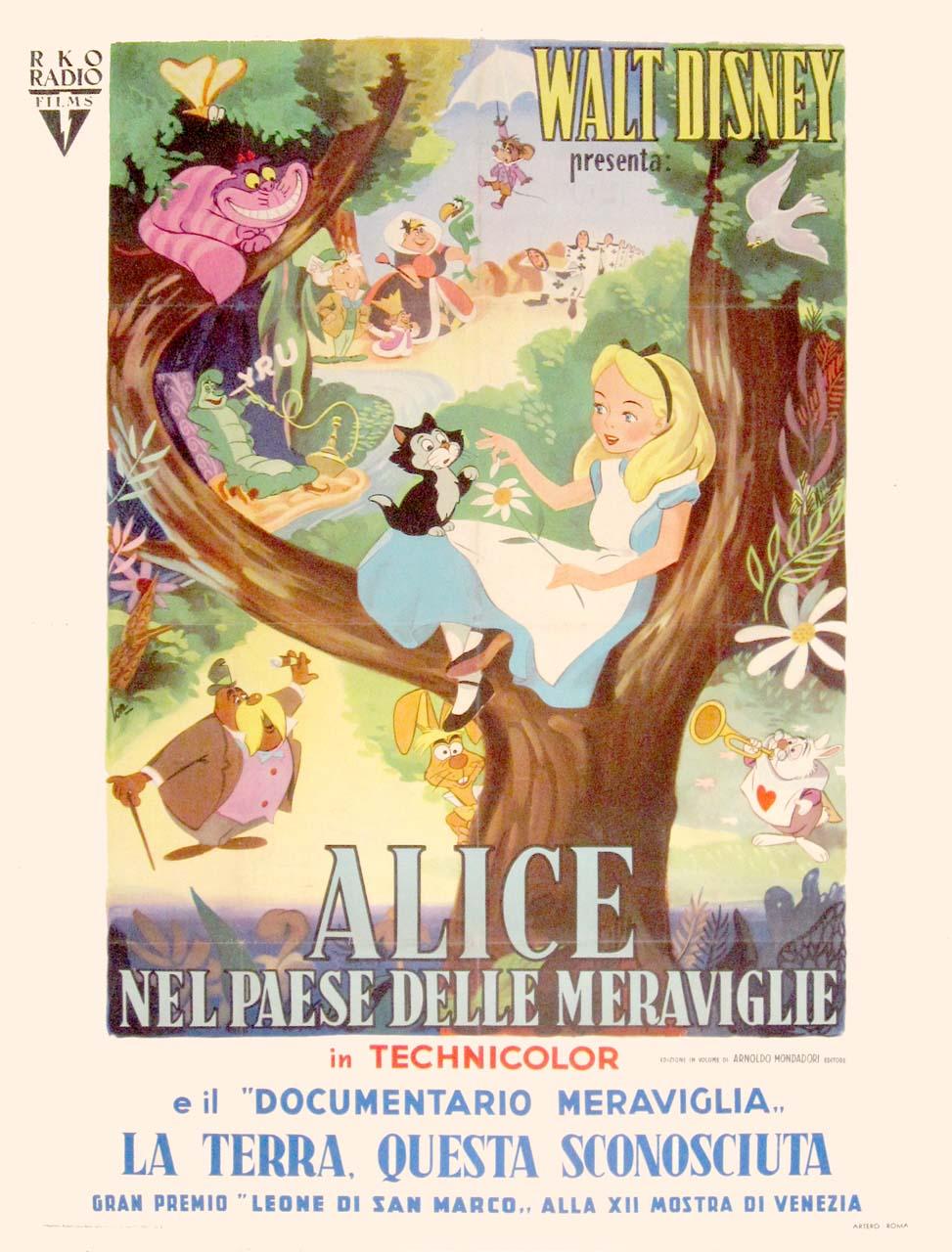 Vintage Disney Alice in Wonderland: Italian 2-Sheet - Alice with Dinah