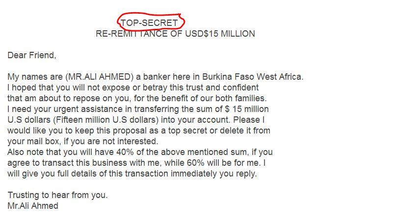 النصب و الاحتيال عن طريق البريد الالكتروني 2013 15 مليون دولار حساب في البنك مدونة لمعلوماتك