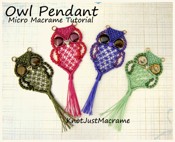 Micro Macrame Owl Pendant tutorial at www.knotjustmacrame.etsy.com