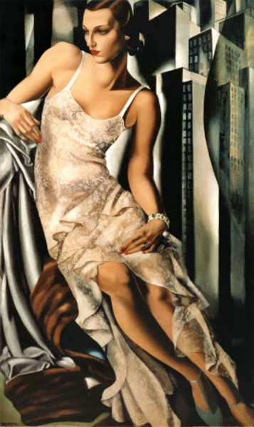 art paintings tamara de lempicka self portrait in the. Black Bedroom Furniture Sets. Home Design Ideas