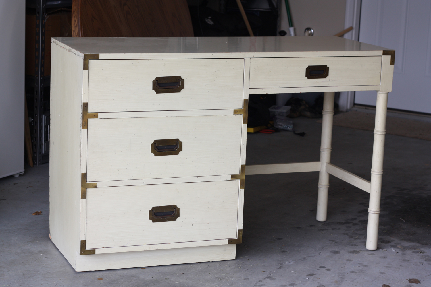 As you may recall, this is what my vintage campaign desk looked like after  I brought it home, before I began removing hardware, sanding, priming, ... - That Winsome Girl: Vintage Campaign Desk Reveal
