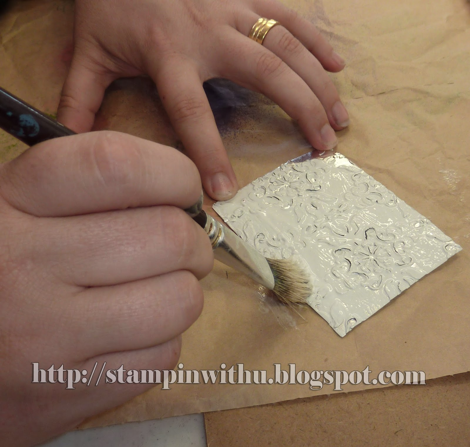 Painting Glue on Foil