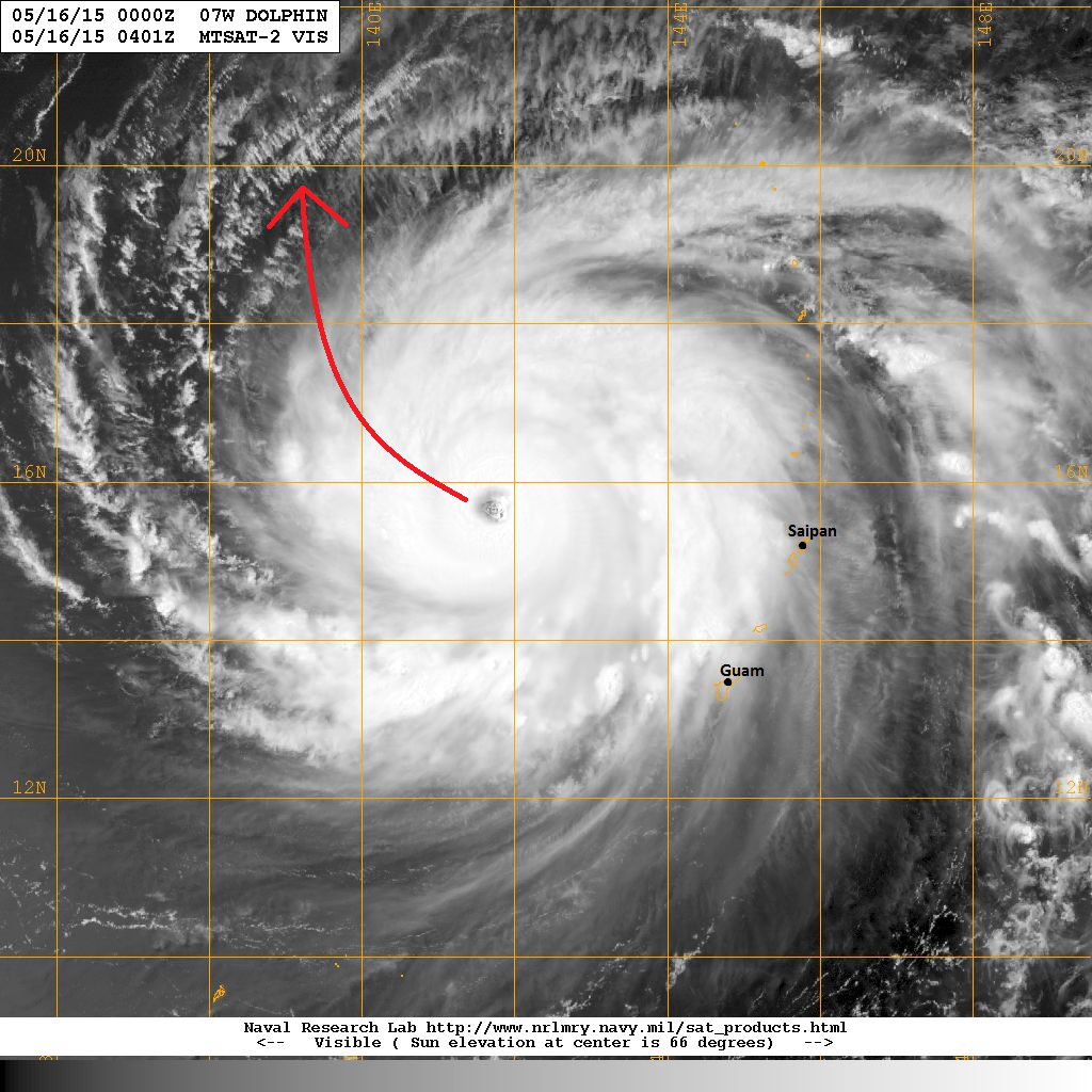 latest satellite image shows the impressive structure of typhoon dolphin an eye is well visible and convective activity surrounding the center is also