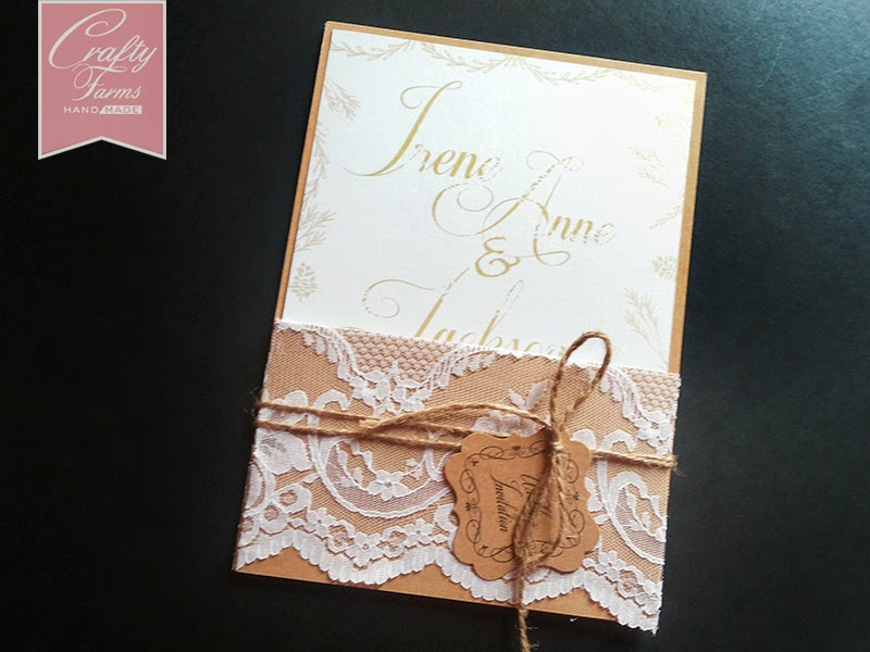 Vintage Wedding Card Malaysia with Lace and Twine