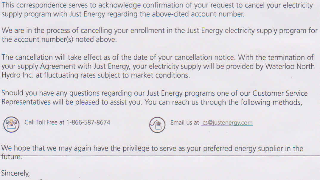 One Onion: Just Energy ambiguous cancellation letter