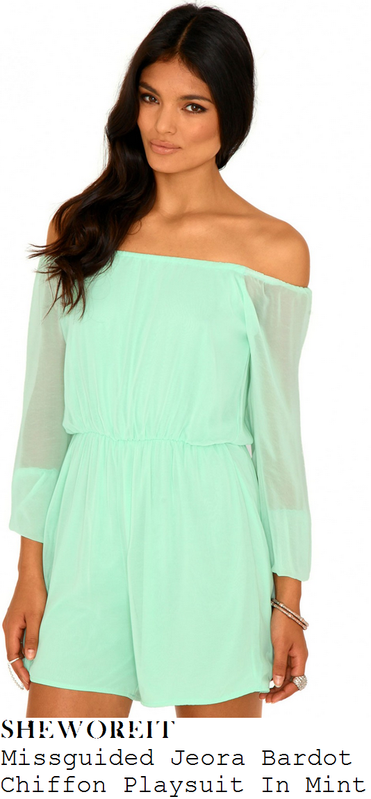 rosie-fortescue-mint-off-the-shoulder-chiffon-playsuit
