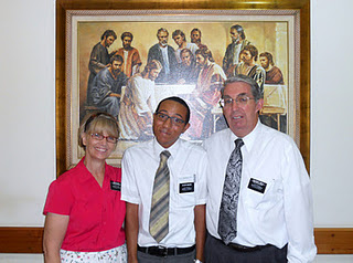 Elder Brown with President and Sister Shulz
