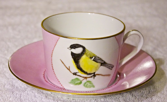 hand painted tea cup, great tit, birds