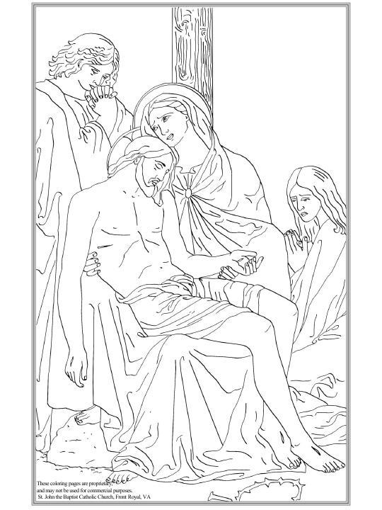María recibe a Jesús bajado de la Cruz colorear