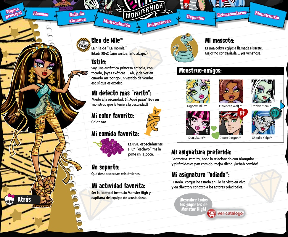 TOYS: Cleo de Nile : Monster High biografia