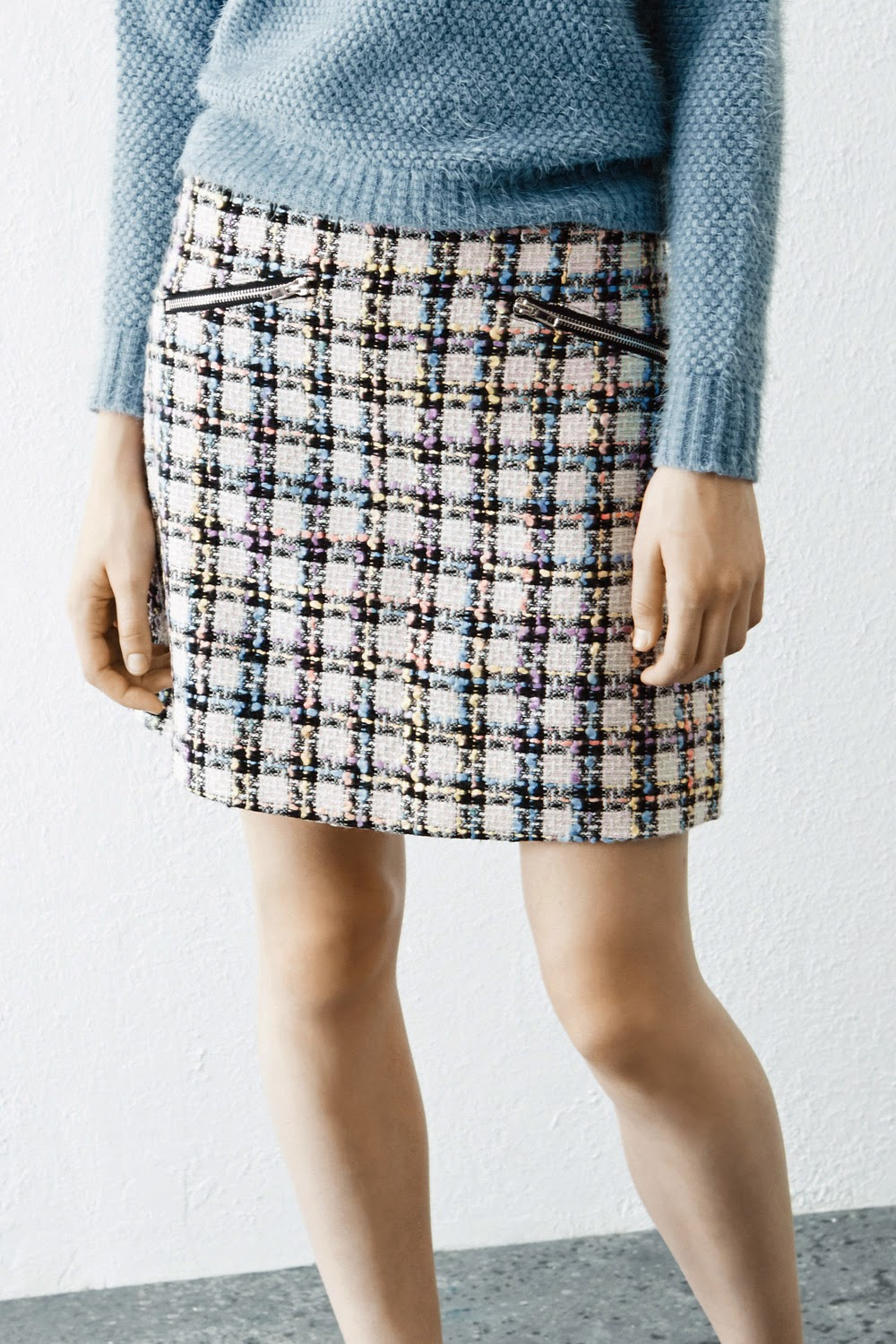 tweed skirt with pockets