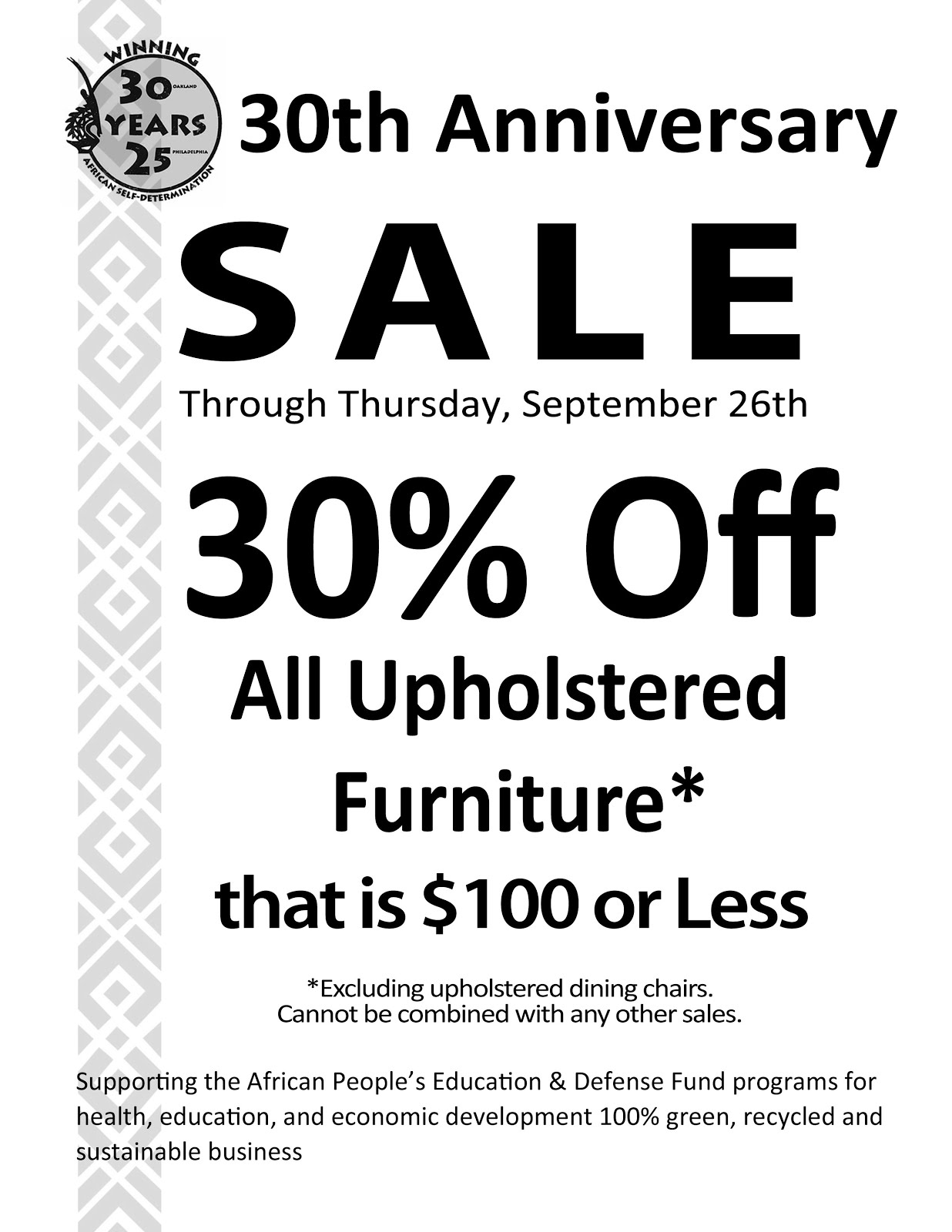 30% Off All Upholstered Furniture that is $100 or Less, now through Thursday, September 26th!