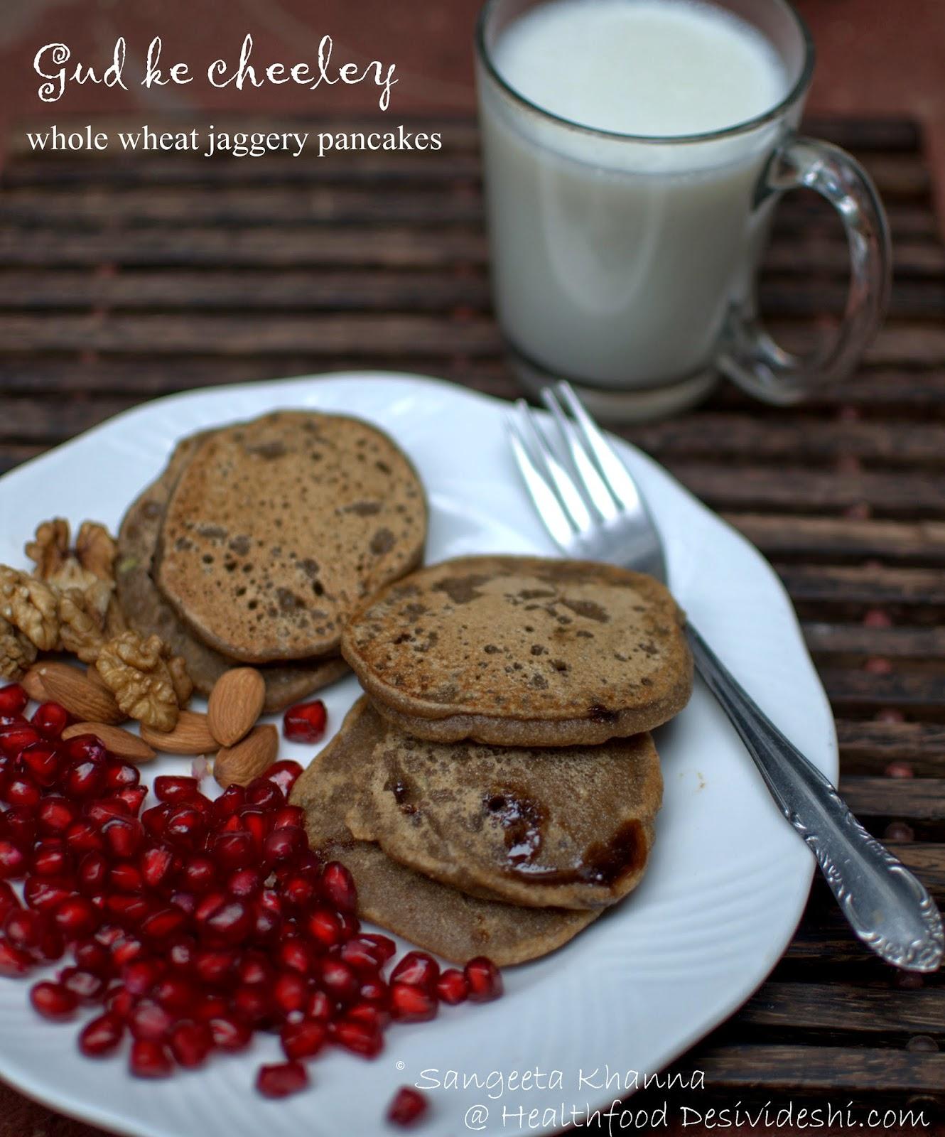 gud wale cheeley / jaggery pancakes