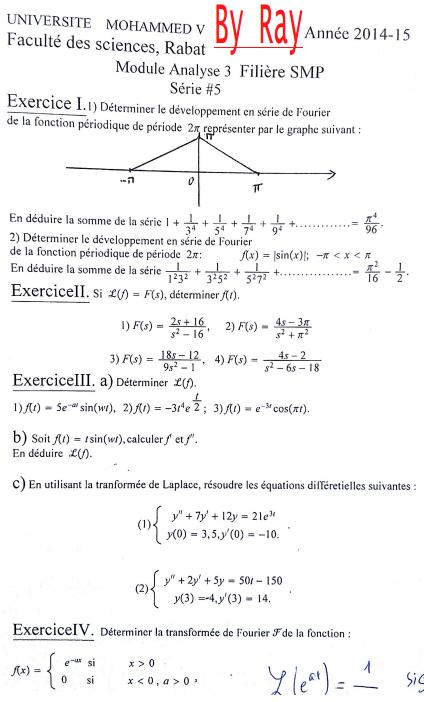 Analyse Complexe série Corrigé SMP S3 FSR