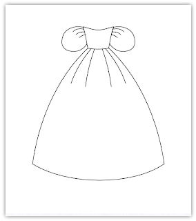 princess dress free hand embroidery pattern
