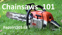 Stihl chainsaw in grass