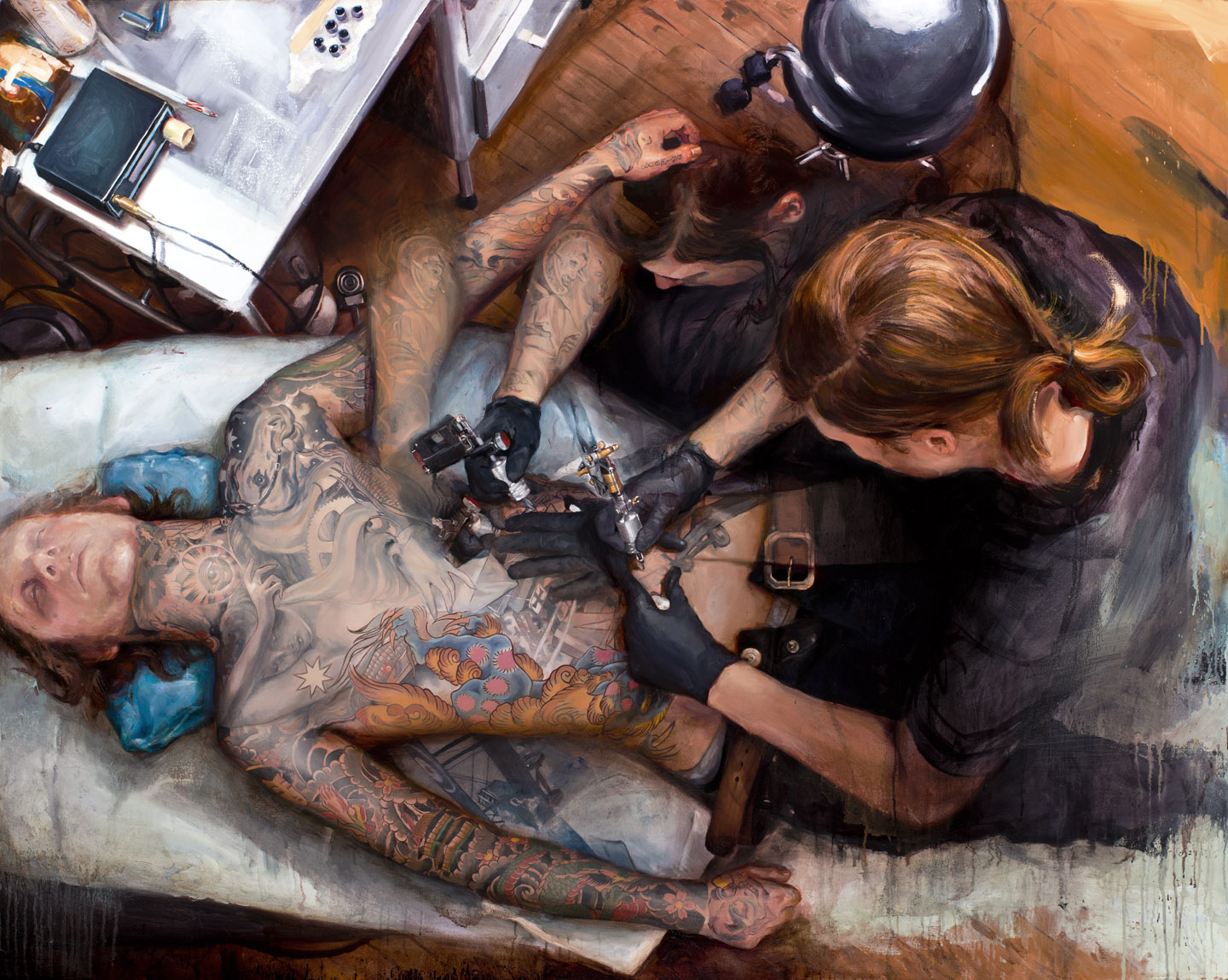 Barber Ink : James Spencer Briggs at Work, (with Aaron Wahlman), 2011-2012 (oil on ...