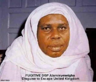 Alamieyeseigha was said to have escaped from London dressed as a woman,Alamieyeseigha in hijab,Alamieyeseigha as a woman