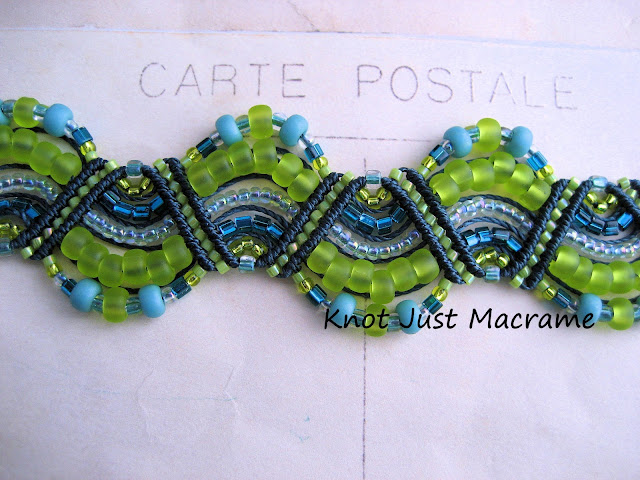 Beaded macrame bracelet knotted in teal, turqoise, marina blue and chartreuse