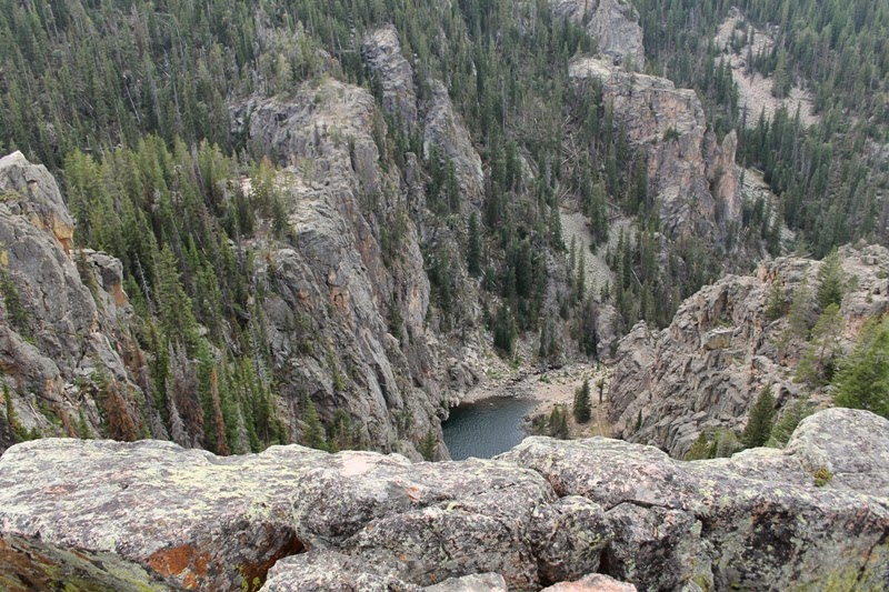 Looking down into Devil's Canyon at Bucking Mule Falls, Bighorn Mountains, WY
