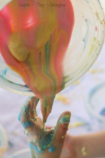 Color mixing with Oobleck - science and sensory play for early learners