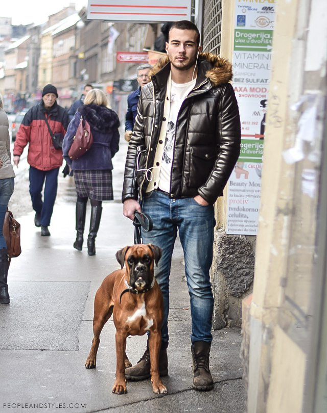 cool mens street fashion, men fashion style in winter, winter men outfit, mens cool casual winter street style fashion: padded jacket, workboots, lace up boots, handsome guys and dogs street fashion