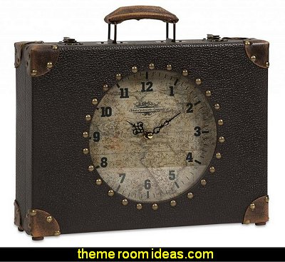 Decoratively Striking World Map Suitcase Clock Home Table Clocks Décor
