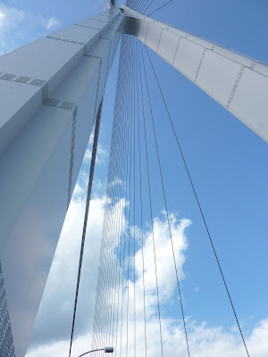 Looking directly up at one of the support towers of the  cable-stayed Tatara bridge, from the shimanami kaido bikeway