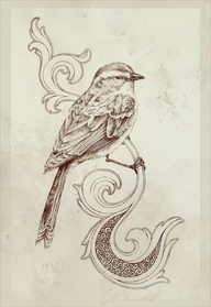 Black and white sparrow tattoo