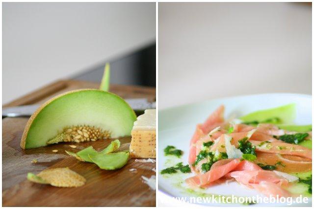 Melonen-Carpaccio mit Parmaschinken und selbstgemachtem Basilikumöl