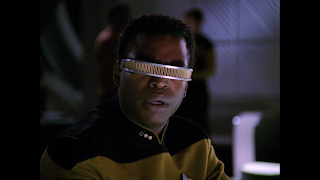 Close up of LaForge, looking incredulous at what Worf has just said, VISOR clearly not fiery.