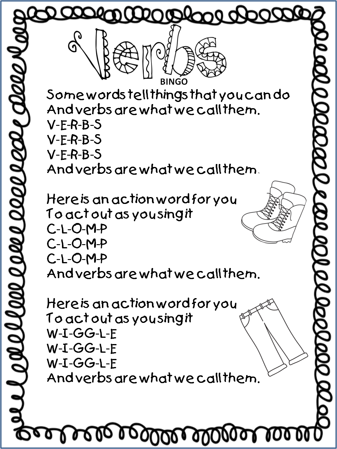 Worksheet Verbs For Grade 1 first grade wow readers theater and that little old lady noun for your free 20 page bundle dont be afraid chick here