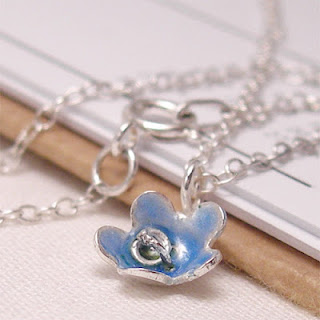 Pale Blue Tiny Enamel Silver Flower Pendant Necklace
