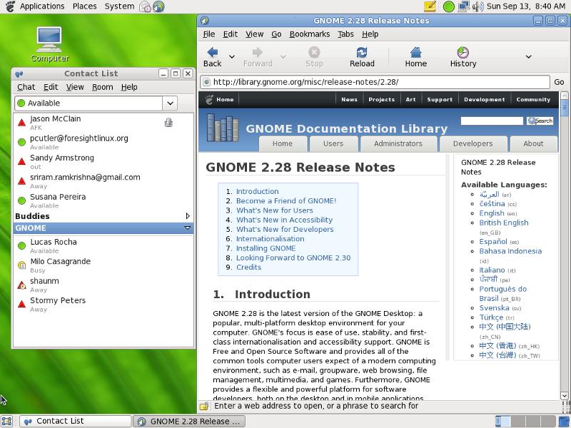 Tampilan desktop GNOME 2